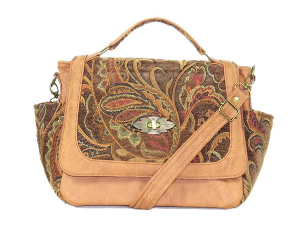Paisley and Leather Composition Flap Bag