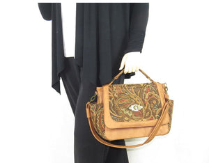 Paisley and Leather Composition Flap Bag model 1 view