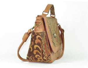 Paisley and Leather Composition Flap Bag side view