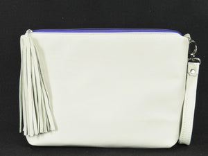 Pansies Embroidery Leather Zipper Clutch