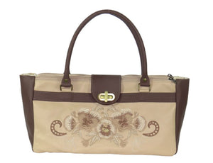 Pansies in Beige Leather Satchel