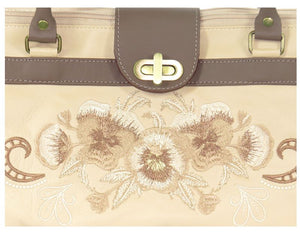 Pansies in Beige Leather Satchel embroidery detail view