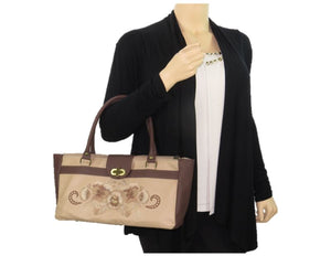 Pansies in Beige Leather Satchel model view