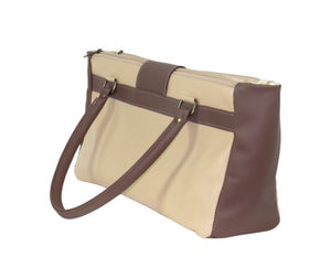 Pansies in Beige Leather Satchel side view