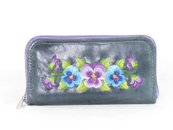 Pansies on Slate Blue Leather Wallet