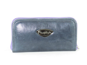 Pansies on Slate Blue Leather Wallet back view