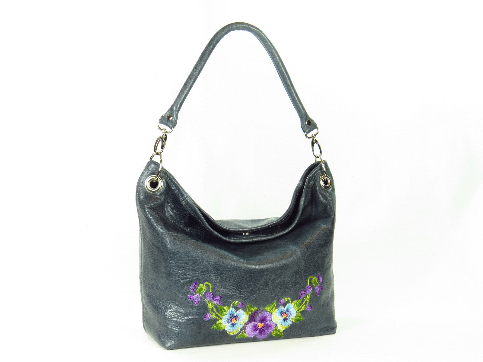 Pansies on Slate Blue Slouchy Hobo Leather Bag