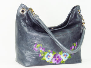 Pansies on Slate Blue Slouchy Hobo Leather Bag 2