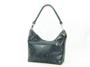 Pansies on Slate Blue Slouchy Hobo Leather Bag back side zipper