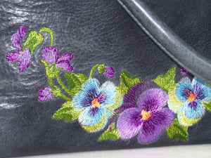 Pansies on Slate Blue Slouchy Hobo Leather Bag embroidery closeup