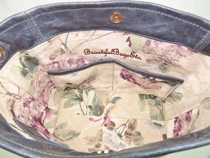 Pansies on Slate Blue Slouchy Hobo Leather Bag floral lining with dual pockets