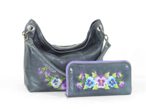 Pansies on Slate Blue Slouchy Hobo Leather Bag with companion wallet