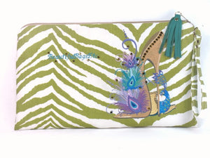 Peacock Embroidery Swarovski on Tiger Canvas Zipper Pouch