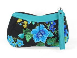 Peacock Print and Lambskin Zipper Clutch