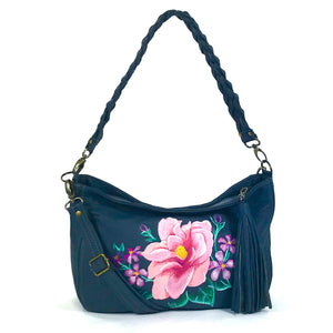 Pink Floral Navy Leather Slouchy Hobo