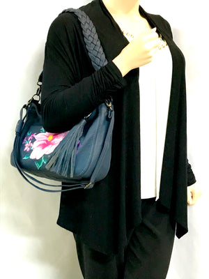 Pink Floral Navy Leather Slouchy Hobo model view
