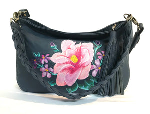 Pink Floral Navy Leather Slouchy Hobo relaxed handle view