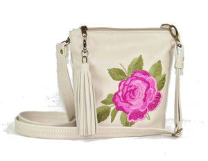 Pink Rose Beige Leather Crossbody