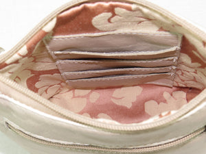 Pink Rose Beige Leather Crossbody interior card slots