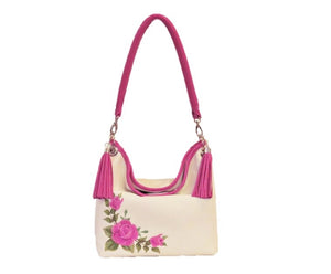 Pink Roses on White Slouchy Hobo Leather Bag