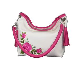 Pink Roses on White Slouchy Hobo Leather Bag handle view