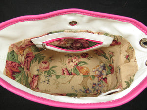 Pink Roses on White Slouchy Hobo Leather Bag interior zipper pocket