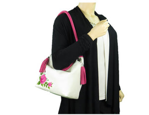 Pink Roses on White Slouchy Hobo Leather Bag model view
