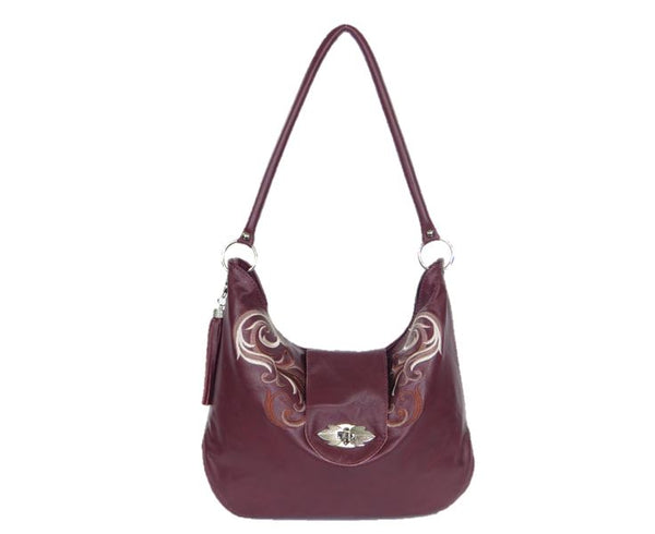 Plum Leather Embroidered Hobo Shoulder Bag
