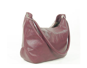 Plum Leather Embroidered Hobo Shoulder Bag back view