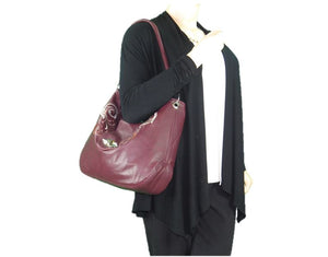 Plum Leather Embroidered Hobo Shoulder Bag model view