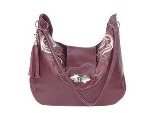 Plum Leather Embroidered Hobo Shoulder Bag relaxed handle