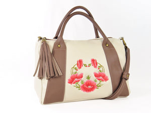 Poppies on Beige Leather Satchel