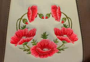 Poppies on Beige Leather Satchel embroidery close-up