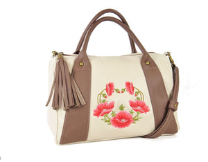Poppies on Beige Leather Satchel main photo
