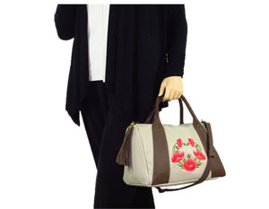 Poppies on Beige Leather Satchel model view