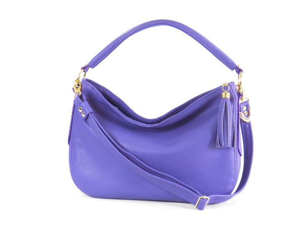Purple Leather Slouch Hobo Purse