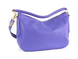 Purple Leather Slouch Hobo Purse back side