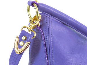 Purple Leather Slouch Hobo Purse hardware close up
