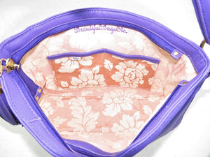 Purple Leather Slouch Hobo Purse interior slip pockets