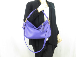Purple Leather Slouch Hobo Purse modeled