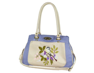Purple and Beige Embroidered Chickadee Leather Satchel