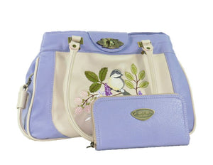 Purple and Beige Embroidered Chickadee Leather Satchel and companion Lavender Leather Wallet
