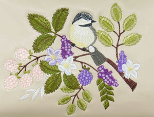 Purple and Beige Embroidered Chickadee Leather Satchel embroidery close up
