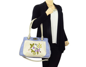 Purple and Beige Embroidered Chickadee Leather Satchel model view