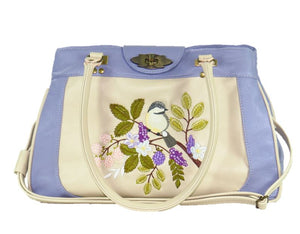Purple and Beige Embroidered Chickadee Leather Satchel relaxed handle view