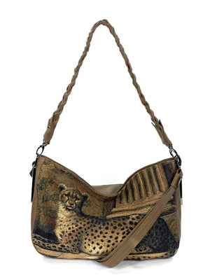 Queen Cheetah Tapestry and Brown Leather Slouchy Hobo