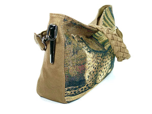 Queen Cheetah Tapestry and Brown Leather Slouchy Hobo side view