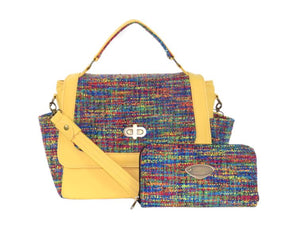 Rainbow Tweed Zipper Wallet with Yellow Leather and Rainbow Woven Flap Bag