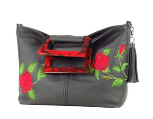Rambling Rose Embroidered Black Leather Tote