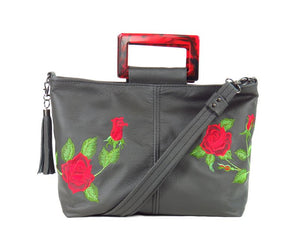 Rambling Rose Embroidered Black Leather Tote handles up